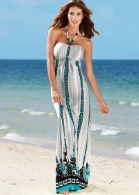 White Multi Halter Print Maxi Dress...     $36.00