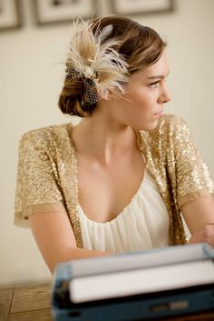 Bridal feather hair piece vintage veil peacock feather by LoBoheme, $150.00
