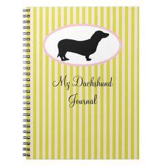 Dachshund Journal green & pink stripes Notebook