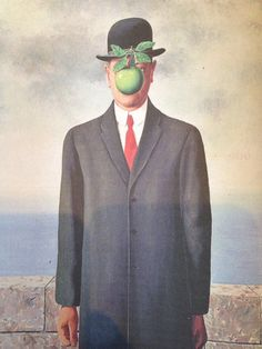 The Son of Man by René Magritte At least it hides the face partly well, so you have the apparent face, the apple, hiding the visible but hidden, the face of the person. Everything we see hides another thing, we always want to see what is hidden by what we see. There is an interest in that which is hidden and which the visible does not show us. This interest takes the form of quite intense feeling, a conflict, one might say, between the visible that is hidden and the visible that is present