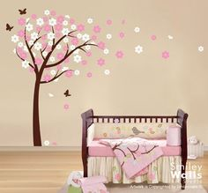 Sweet Girls Pink Baby Nursery With Tree And Little Flowers Wall Decal 2466