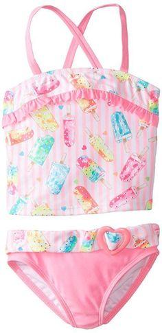NWT Girls 6x ANGEL BEACH Two Piece Dreamsicle Tankini Swimsuit Popsicle Swim Set