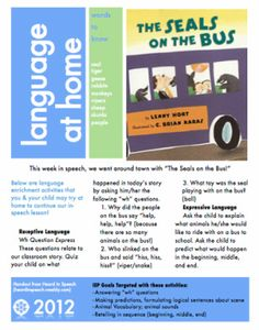 The Seals on the Bus-language worksheet for elementary kids. From Heard in Speech. Pinned by SOS Inc. Resources @sostherapy.