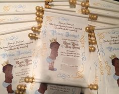 Royal blue and gold baby shower invitations DIY scrolls Naes