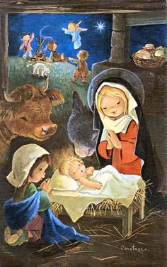 fete noel vintage gifs images - Page 33 Christmas Nativity, Noel Christmas, A Christmas Story, Christmas Pictures, Christmas Crafts, Vintage Greeting Cards, Vintage Christmas Cards, Clipart Noel, Illustration Noel