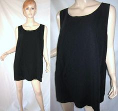 MARINA RINALDI BASIC Stretch Twill Tank Top Black Blouse 3X...see more details at this link - http://stores.shop.ebay.com/vintagefluxed