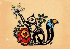 Día de muertos CAT Dia de los Muertos impresión 8 x 10 - donación a Austin animales vivos