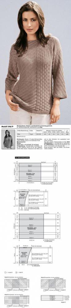 Пуловер простыми узорами спицами
