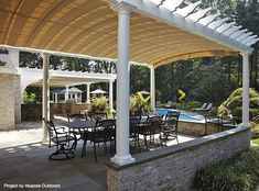 This Project In Oyster Bay NY Uses Two Pergolas Each With A Retractable Awning To Extend The Homes Living Space Well Into Outdoors