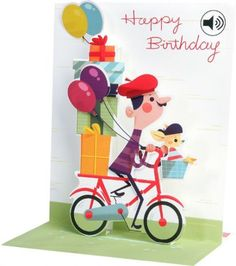 Up With Paper Bicycle Birthday Sound Effects Pop Card