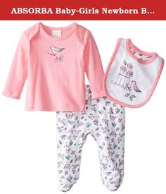 ABSORBA Baby-Girls Newborn Bird 3 Piece Footed Pant Set, Pink, 0-3 Months. A baby girls three piece footed pant set. The set includes a pink top with lap shoulder openings and real screen bird on a branch art, a footed pant with an allover bird screen and a bib with the same artwor.