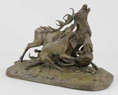 """Méne, Pierre Jules (Französischer Bildhauer, 1810 - 1879) Figur """"Hundemeute des Prinzen von Wagram — Skulpturen, Plastiken, Installationen, Bronzen, Relief"""