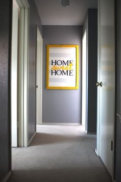 gray yellow home sweet home art - different font and colors....but love!