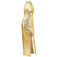 Pre-owned Ted Lapidus Gold Sequined Halter Gown ($1,695) ❤ liked on Polyvore featuring dresses, gowns, evening dresses, white sequin gown, white dress, vintage dresses, gold sequin gown and white halter top