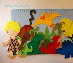 Storybook Felts Felt Storyboard My LIttle Dinosaur With Cave Boy Play Set 17 pcs on Etsy,