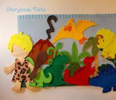 Storybook Felts Felt Storyboard My LIttle Dinosaur With Cave Boy Play Set 17 pcs on Etsy, $25.00
