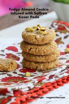 Kesar Peda - Saffron Infused Mithai Sweet for Sankranti. Vegan Glutenfree Recipe - Vegan Richa