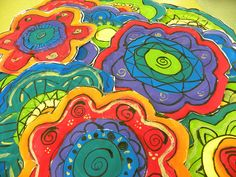 3rd Grade Flowers by Paintbrush Rocket, via Flickr  Overlapping space