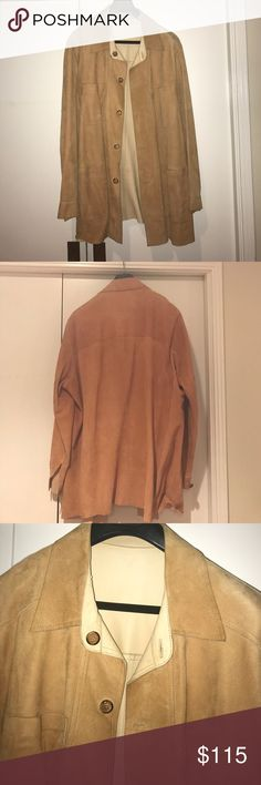 Brown leather jacket Brown leather jacket. Reversible, soft leather on one side and suede on the other. A couples stains on the inside (alcohol) but can probably come out if dry cleaned. Looks a western style Jackets & Coats Pea Coats