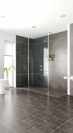 beautiful new look at a wetoom shower with zero egress (steps) into the shower