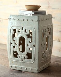 Antique Ceramic Garden Seat at Horchow. Between chairs in front of fireplace