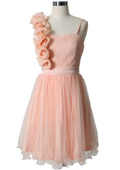 #Chicwish  3D Flower Fluted Hemline Tulle Dress in Peach - Dress - Retro, Indie and Unique Fashion