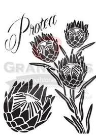 Stencils Protea Stencil - Granny B's Old Fashioned Paint Protea Art, Protea Flower, Stencil Patterns, Stencil Designs, Lino Art, Australian Flowers, Laser Art, Zentangle Drawings, Fashion Painting