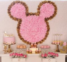 possible design in other color combo for 13th birthday. Hostess with the Mostess® - Pink and Gold Minnie Table