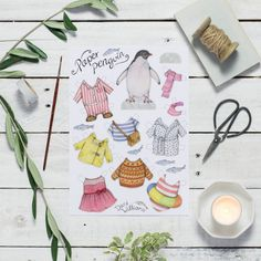 Adorable penguin paper doll