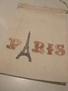 Hand Stamped Muslin Gift Bags  Paris  Eiffel by frenchcountry1908, $6.75