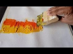 Abstract painting / Using rubber squeegee and palette knife / Acrylics / Demonstration - YouTube