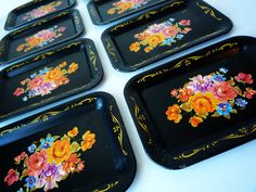 Vintage Miniature Black Floral Tole Trays by ShantyIrishVintage