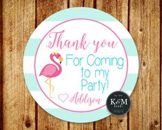 Flamingo Birthday Party Favor Tag / Flamingo Party by KandMGoods