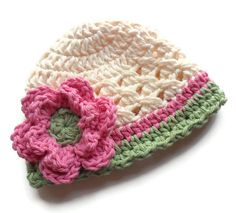 Infant Crochet Hat, Baby Girl Cotton Crochet Beanie Hat, Cream, Pink and Sage Green, MADE TO ORDER. $18.00, via Etsy.  LOVE COLORS
