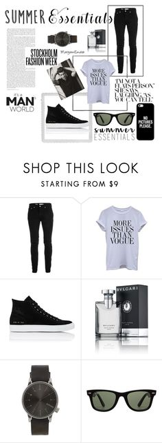 """""""Summer Essentials/Black&White"""" by maryamemara ❤ liked on Polyvore featuring Polaroid, Topman, Common Projects, Bulgari, Komono, Ray-Ban, Casetify, men's fashion, menswear and casualoutfit"""