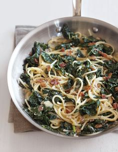 This creative take on an Italian favorite includes healthful and tasty greens. For a meatless option, omit the pancetta and sauté the shallot in olive oil instead.