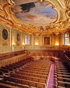 De Sorbonne universiteit te Parijs, l'amphithéâtre Liard, een zaal van 220 m² die plaats biedt aan maximaal 200 personen. Hier vinden zowel de verdediging van proefschriften in brieven plaats als de proefschriften voor de machtiging om onderzoek te begeleiden. Special Pictures, Vacation, Travel, Om, Vacations, Viajes, Destinations, Holidays Music, Traveling