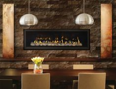 modern dining room decoration stone fireplace surround linear fireplace design ideas
