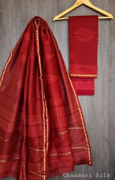 Price Rs 1600 + Shipping extra Hand block Printed chanderi silk dress materials Top and dupattas chanderi silk (2.50×2 mtrs) Bottom cotton (2.50 meters)