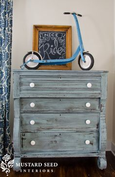 "Painted furniture . . . this piece finished by Mustard Seed interiors (creators of Miss Mustard Seed's ""milk paint"") . . . I love the color and the great texture that this piece has now that it's been refinished."