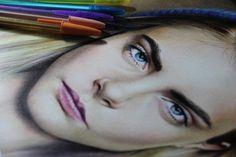 Drawing with ballpoint pen (BIC)Model - Cara Delevingne Instagram - hercules_versiani