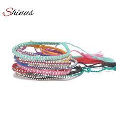 Shinus Bracelets Femme Strand Beaded Bracelets Friendship Seed Beads Pulseira Tassel Boho Handmade Woven Fashion Woman Jewelry #Affiliate