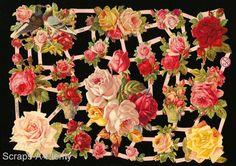 German Victorian Style Embossed Scrap Die Cut - Flowers / Roses & Dove  EF7234