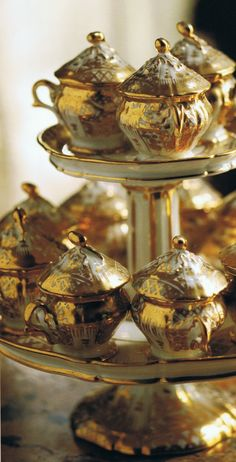 Antique gilded Pots de Crème on matching stand. Part of Hal Williamson's personal collection. New Orleans