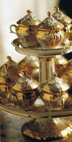 vintage gold & porcelain.....