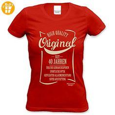 Damen-Kurzarm-T-Shirt Girlieshirt Original seit 40 Jahren Geschenk-Idee zum 40. Geburtstag Geburtstagsgeschenk Farbe: rot Gr: M (*Partner-Link)