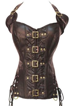 sexy Corset corset Brown Patent Bustier Corset Top Gothic Steampunk Punk <9cc> #RDessous #Laced