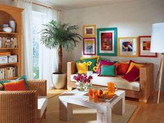 sofá de vime e mesa de madeira rústica