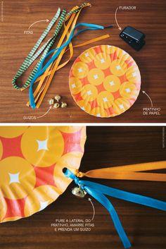 Pandeiro com prato de papel, guizo e fitas | Homemade tambourine with jingle bells