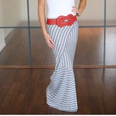 Gray striped maxi skirt Mossimo gray striped maxi skirt. Size small. Mossimo Supply Co Skirts Maxi